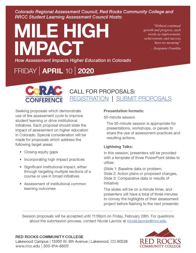 CoRAC 2020: Mile High Impact